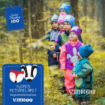 Vinkee lanseeraa 1.9.2017 uuden Metsäneläimet -heijastinliivimalliston, joka on saanut Suomi 100 -tunnuksen